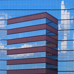 Abstract Architecture (2n2907) Tags: abstract architecture glass office building windows skyscraper graphic geometric geometry pattern lines graphical design blue square cloud reflection facade