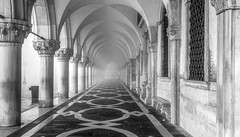 Doges Palace in the fog. (photofitzp) Tags: architectue bw blackandwhite dogespalace fog italy mist venice perspective stealingshadows