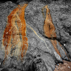 flaming red flow (lowooley.) Tags: cocklawburn northumberland beach rocks red flow cliff