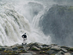 my dear at the dettifoss (ralf k. lang) Tags: iceland waterfall cascade nordic impressive dettifoss highlands