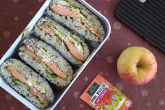 Bento 700 (Sandwood.) Tags: bento lunch lunchbox cooking food meal dish onigirazu ricesandwich instantsoup apple snack