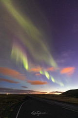 On road 427 (Kjartan Guðmundur) Tags: iceland ísland auroraborealis northernlights norðurljós nightscape nocturne nightphotography nordlys nature night mountain road stars sky clouds arctic kjartanguðmundur canoneos5dmarkiv sigma14mmf18art