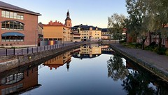 Reflection (halleluja2014) Tags: mirror reflection waterscape town sweden falun october höst autumn tranquility river falunriver faluriver faluån nybrogatan