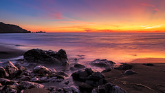 Rockaway Beach (j1985w) Tags: california pacifica rockawaybeach beach river creek rocks sand ocean water longexposure sky clouds sunset hills