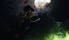 {ɴɪɢʜᴛᴍᴀʀᴇ ғᴜᴇʟ ] (inworld: oomiyuoo) Tags: secondlife halloween samhain demon yokai oni green fire moon night raven mystic spooky blood gore devil head smile dark scary