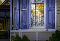 Window - Chesapeake City, Maryland (crabsandbeer (Kevin Moore)) Tags: decay farm oldhouse quaint chesapeakecity sunset rural towns smalltown autumn reflection fall window golden maryland shutters goldenhour lace lacecurtains october stilllife architecture sun