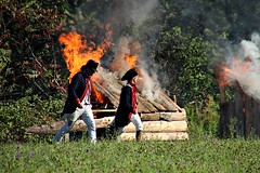 BURNING HOMES (MIKECNY) Tags: burn fire smoke destroy soldier colonial americanrevolution schoharie schoharievalley reenactment