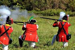 BRITISH FIRE (MIKECNY) Tags: british soldiers americanrevolution schoharievalley musket rifle smoke shoot reenactment reenactor schoharie oldstonefortdays