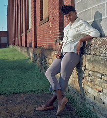 Ana 4 (neohypofilms) Tags: series africanamerican black woman girl female tall long legs headwrap beauty street portrait color 120 medium format city urban retro vintage style classic 70s 60s hasselblad photography