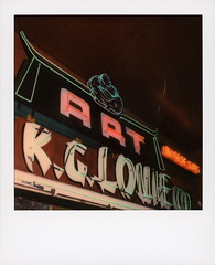 Art Neon 2 (tobysx70) Tags: polaroid originals color 600 instant film slr680 art neon kglouie co gin ling way old chinatown plaza dtla downtown los angeles la california ca sign light lit illuminated night nocturnal buddha chinese gifts gift shop store red green toby hancock photography