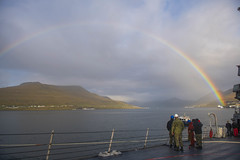 USS Donald Cook (DDG 75) depart Runavik, Faroe Islands after a scheduled port visit, Oct. 12, 2019