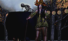 Witchy Woman (OSunshinezO) Tags: secondlife slavatar sl second shadows simplyshelby spoofy scary fashion skeleton cauldron witchy witches witch sorcery sorceress fabia avatars virtual halloween photography
