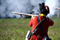 RETURNING FIRE (MIKECNY) Tags: fire smoke reenactor reenactment rifle musket shoot battle british soldier uniform americanrevolution schoharievalley oldstonefortdays