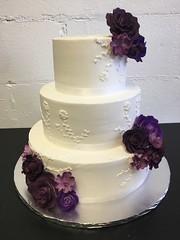W3026 (Rick's Bakery) Tags: fondantflowers purple buttercream ribbon 3tier lace