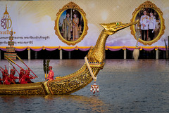 The training of the Royal Barges Procession, the last royal ceremony of the Royal Coronation Ceremony Of King Rama (anekphoto) Tags: soldier red bangkok travel rehearsal ship asian asia southeast thailand thai queen river chaophraya famous palace gold suphannahongse place phraya siamese king landmark majesty grand ancient editorial royal temple buddhist culture outdoor religion boat buddhism art architecture head holiday tourism city colorful ceremony background traditional water oriental decoration golden procession