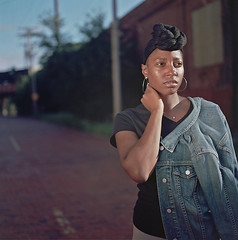 Ana 1 (neohypofilms) Tags: series africanamerican black woman girl female tall long legs headwrap beauty street portrait color 120 medium format city urban retro vintage style classic 70s 60s hasselblad photography
