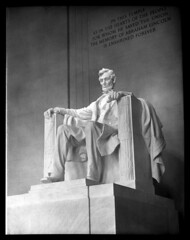 4x5-096-58 (ndpa / s. lundeen, archivist) Tags: nick dewolf nickdewolf blackwhite photographbynickdewolf washington dc washingtondc districtofcolumbia lincolnnationalmemorial lincoln national memorial sculpture president abrahamlincoln monument landmark bw statue abe 1957 1950s film monochrome blackandwhite 4x5 largeformat late1950s
