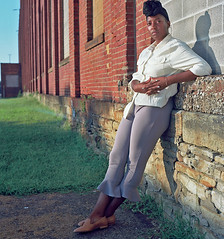 Ana 6 (neohypofilms) Tags: series africanamerican black woman girl female tall long legs headwrap beauty street portrait color 120 medium format city urban retro vintage style classic 70s 60s hasselblad photography