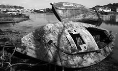 shipwrecks (chrisinplymouth) Tags: boat ship shipwreck black white monochrome hooelake hulk plymouth devon england plain uk city xg cw69x wideangle plymstock
