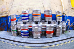 Barrel Distortion (stephenbryan825) Tags: merseyside alcohol barrelsliverpool drinks multicoloured patterns stacked
