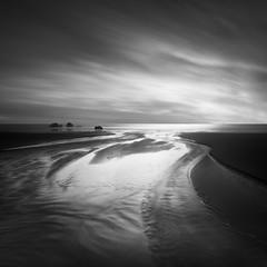 Winter Runoff (nlwirth) Tags: nlwirth yup longexposure ocean light sea water sand rocks clouds sun blackandwhite monochrome bandon oregon