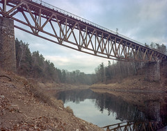 Pilchowice, Poland. (wojszyca) Tags: intrepid camera 4x5 largeformat fujinon sw 90mm kodak portra 400 epson v800 railway railroad bridge abandoned decay pilchowice lake landscape overcast