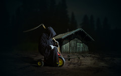 Death Rider (Malcolm Hare Photography and Tuition) Tags: hss death fantasy composite photoshop tricycle bike bicycle yellow black