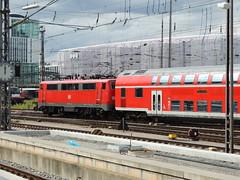 A DB Class 111 electric locomotive departs Munich Hauptbahnhof with a regional train (Steve Hobson) Tags: munich hauptbahnhof 111 db
