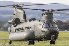 ZH902 Royal Air Force Boeing MH-47E Chinook Glasgow airport EGPF 17.10-19 (rjonsen) Tags: plane airplane aircraft aviation military helicopter mition blur airside taxying