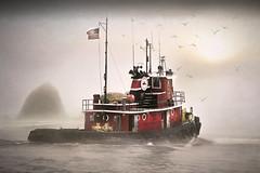 Ocean Tug In Fog (jarr1520) Tags: outdoor seascape clouds sky mist fog haystack sun ocean sea tugboat commercial water textured