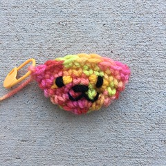 The finished embroidered face of the crochet cat (crochetbug13) Tags: crochet crocheted crocheting amigurumi amigurumicat crochetcat crochettoy childrensbook halloweenbook