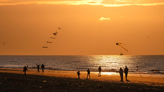 Let's fly together @ sea - C (Drummerdelight) Tags: seaside seascape sunlight sunset sun shillouettes peoplewatching people intothesun