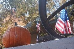 Flag & Pumpkin (LensAdventurer) Tags: sonynex5n manitousprings colorado pumpkin flag american zeiss jena tessar 5028