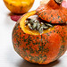Pumpkin puree with pumpkin seeds. Halloween food concept