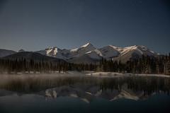 Forget Me Not snow and steam (John Andersen (JPAndersen images)) Tags: kananaskis forgetmenotpond mountains stars moonlight landscape canon6d snow