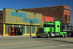 fall colors (oldogs) Tags: mainstreet downtown smalltown grocery truck peterbilt supermarket coke pepsi 7up hugo