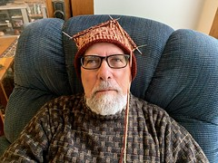 Ali with Catherine's as yet unfinished hat, Photo by CRudin (ali eminov) Tags: wayne nebraska hat handknithat hatbycatherine
