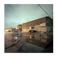 Road Closed (ADMurr) Tags: la eastside industrial rain road closed night wire mission anderson hasselblad 500cm 50mm zeiss cz distagon kodak ektar 6x6 square 120 dba322edit