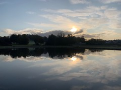 Sun is rising, weather is sweet yeah (markshephard800) Tags: clouds sun sunrise lake pond scotland renfrewshire reflections paisley