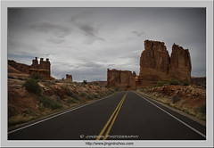 Road Towards Courthouse Tower and Three Gossips (Virtual Reality in film) Tags: archesnationalpark utah desert evening road threegossips courthousetowers clouds