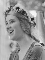 Merriment (clarkcg photography) Tags: woman laughter blackandwhite blackwhite bw flowers sunflowers joy merriment renaissance renaissancefestival