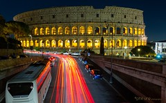 """All Roads"" (Pureo) Tags: colosseum italy rome lighttrail amateur traffic architecture nightscape nightphotography"