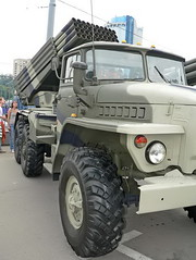 "BM-21 Grad on URAL 4320 6 • <a style=""font-size:0.8em;"" href=""http://www.flickr.com/photos/81723459@N04/48917207703/"" target=""_blank"">View on Flickr</a>"