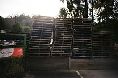 Shipping crates (photo 3) (Matthew Paul Argall) Tags: hanimex35hl fixedfocus focusfree 35mmfilm kodakcolorplus200 200isofilm db crates shippingcrates
