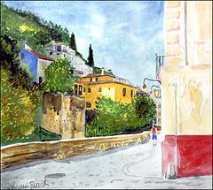 GMB_3161 (Dr Graham Beards) Tags: carreradeldarrogranadawatercolor albaicin andalucia alhambra granada darro townscape spain watercolor watercolour