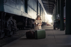 The beginning (journey) (iwona_podlasinska) Tags: iwona podlasinska workshop masterclass train station railway railroad suitcase girl book journal