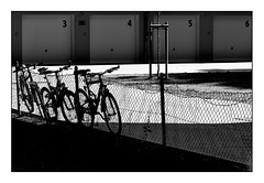 3 4 5 6 fence (Armin Fuchs) Tags: arminfuchs lavillelaplusdangereuse würzburg bicycles fence silhouettes 3 4 5 6 light shadow diagonal hff