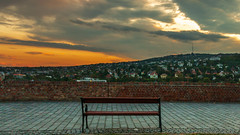 Moment of solitude (Behind Budapest) Tags: 2019 365project 70d budapest canon cloudporn hungary magyarorszag varnegyed autumn bench city cityscape clouds fall outdoor outdoors outside pad sky skyline town urban 250v10f