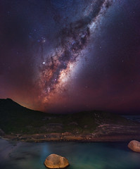 Milky Way at Elephant Rocks, Western Australia (inefekt69) Tags: milky way elephant rocks greens pool denmark tracked ioptron skytracker southern hemisphere cosmos western australia dslr long exposure rural night photography nikon stars astronomy space galaxy astrophotography outdoor core great rift 35mm d5500 panorama stitched mosaic nature landscape msice sky sea ocean granite milkyway