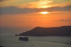 Fira, Santorini (Seventh Heaven Photography - (Travel)) Tags: fira santorini sunset dusk ship cruise water sea sky clouds island aegean cyclades greece greek nikond3200 princesscruises emeraldprincess